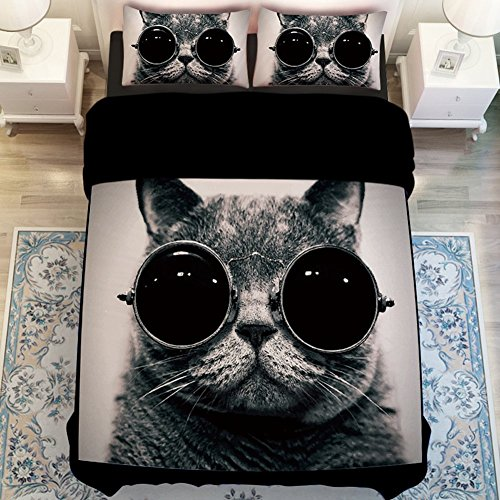 MeMoreCool Fashion Cat with Glasses Bedding Sets Cute Cat Duvet Cover Boys and Girls Bed Sheets Fade, Stain Resistant - 4 Pieces (Queen,Black)