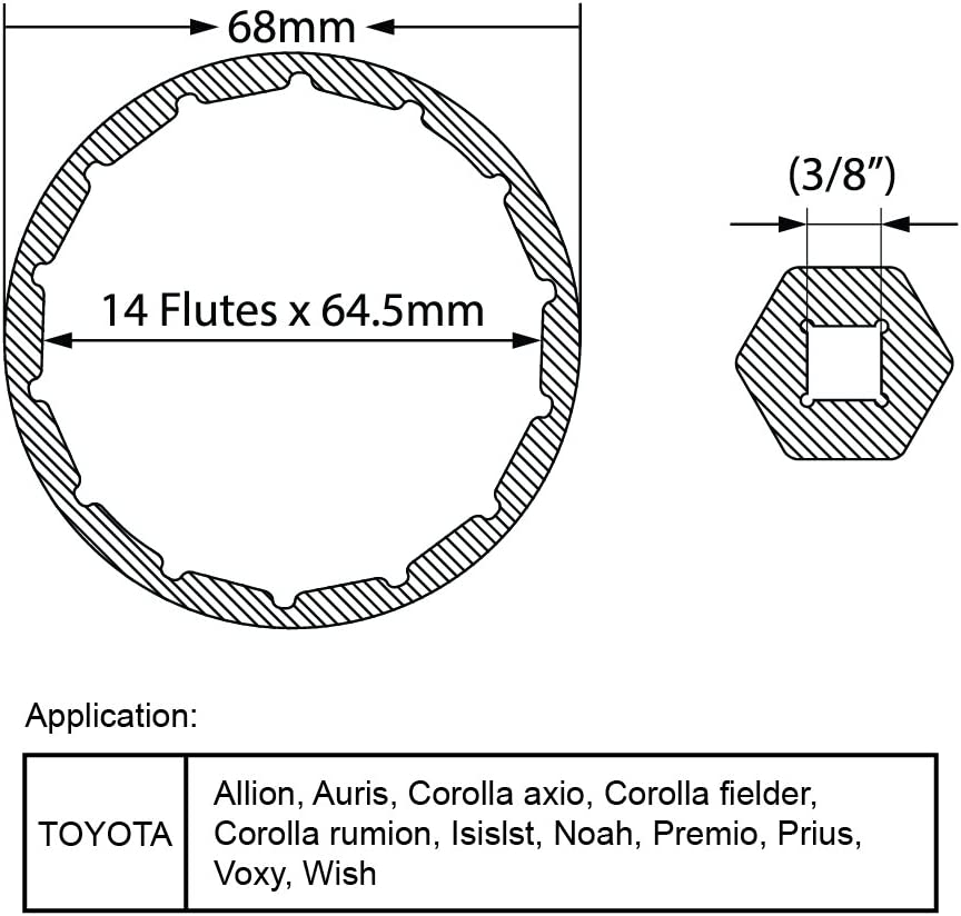 Fits Prius Matrix Rav4 Auris Corolla Axio Fielder Fits 3//8 /& 1//2 Drive Over Tightened Filters Super Strong Aluminum Alloy for Tough to Loosen T1A Toyota /& Lexus 4 Cylinder Oil Filter Wrench