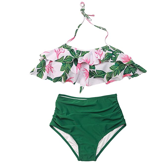 bc69f3af2e654 Image Unavailable. Image not available for. Color  Girls Swimsuit Falbala  High Waisted Bikini Set Halter Neck Swimwear Dots Printing Bathing Suits
