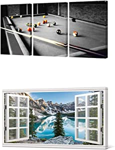HOMEOART Pool Room Wall Decor Billiards Pictures Black and White Canvas Wall Art Snooker Shooting Pool Painting Boys Room Club Decor Sports Themed Artwork Framed Prints