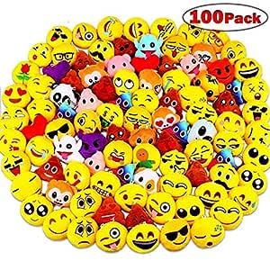 100 Piezas Mini Emoji Felpa Llavero Emoji Fiesta de cumpleaños, decoración, decoración de la Pared y Favor de Fiesta (100pcs)