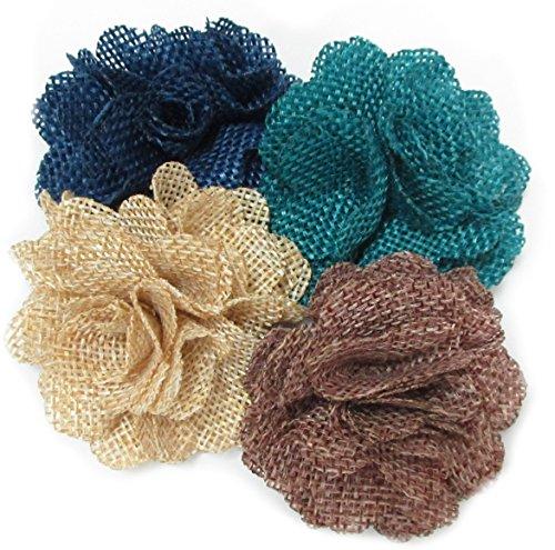 Ovee Lando Burlap Flowers Fabric Decoration Weddings Hair DIY 12 pcs]()
