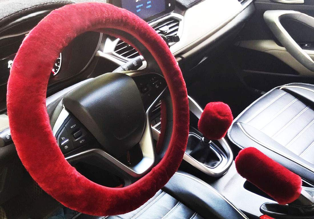 black/&gray for Automatic 3pcs Plush Car Steering Wheel Covers Winter Faux Wool Hand Brake /& Gear Cover Set Car Seat Cover Interior Accessories-38cm
