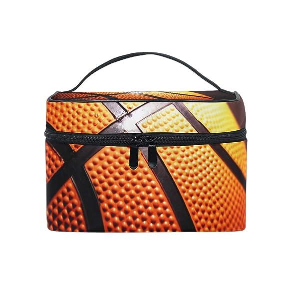 Neceser de maquillaje, diseño de baloncesto, fondo negro, portátil ...