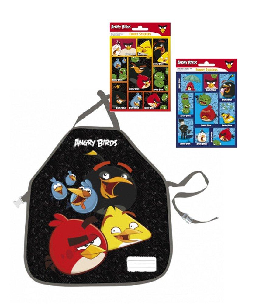 Angry Birds der Mega Kult - Bastelschürze/Kinderschürze / Malschürze/Kochschürze - Motiv: die coolen Angry Birds Figuren + 16 Angry Birds Sticker