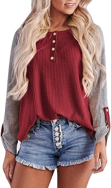 Loolik Blusas Mujer Otoño e Invierno 2019 Camisa Botón de Costura Camiseta de Manga Larga con Cuello Redondo Tops Jersey de Punto (Rojo, XL): Amazon.es: Ropa y accesorios