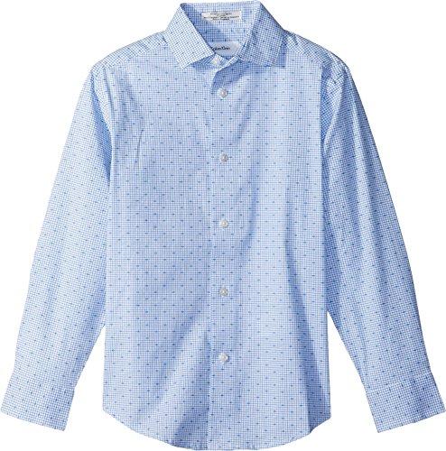 Calvin Klein Big Boys' Long Sleeve Dobby Woven Shirt, Academy Blue, 18