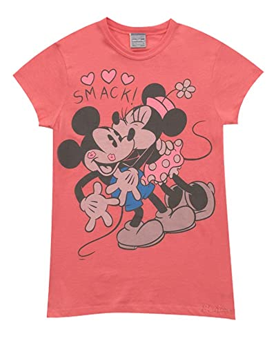 8tees - Camiseta Oficial Mickey and Minnie Mouse in love-XL, color Rojo