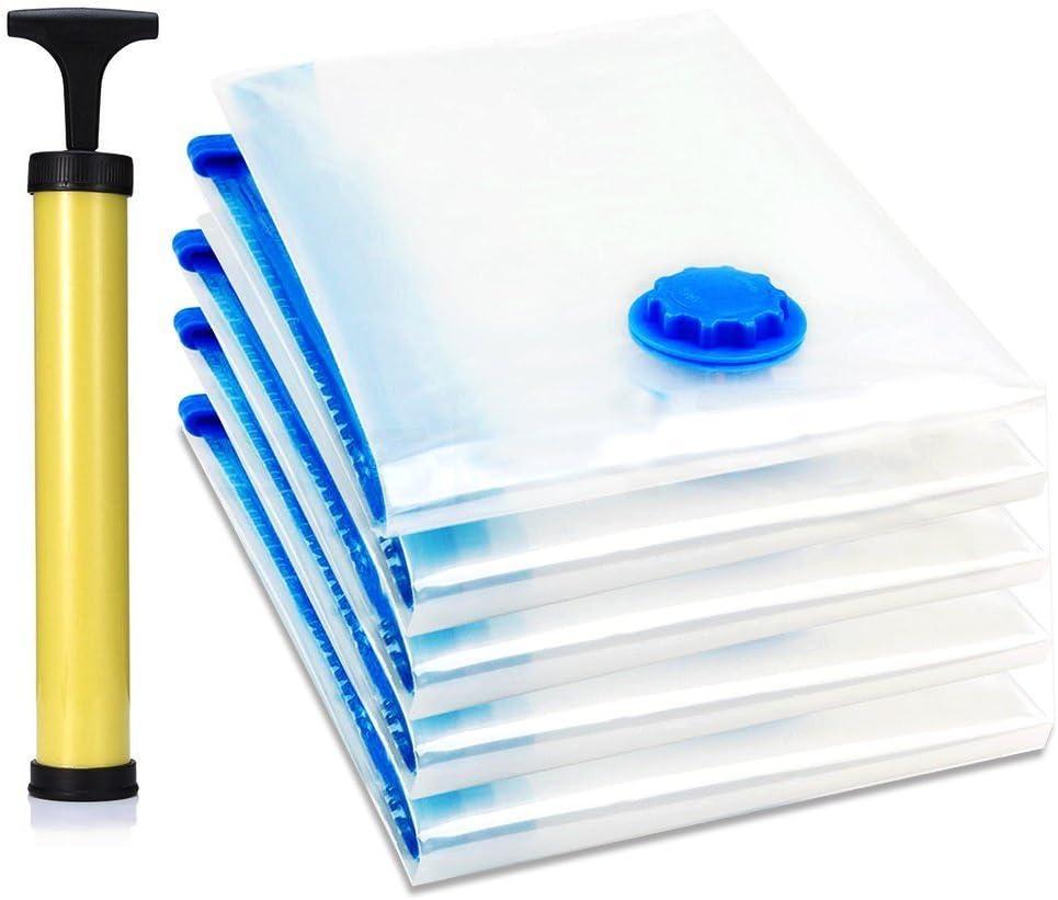 TAILI Premium Bolsas de almacenaje al vac/ío Vac/ío de Espacio de Almacenamiento de Bolsos de Ahorro Paquete de 4 Azul 80 x 100 cm Viajes Casa Armario Organizador