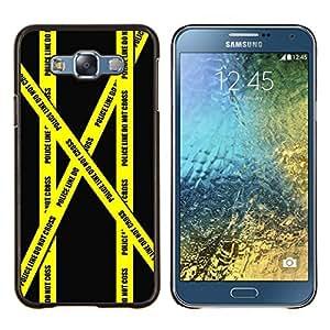 LECELL--Funda protectora / Cubierta / Piel For Samsung Galaxy E7 E700 -- Do not Go Tape Policía Crime Scene Amarillo --