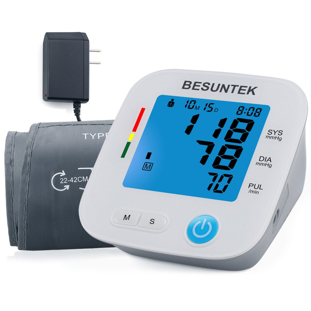 Blood Pressure Monitor with Blood Pressure Cuff 8.7- 16.5 inch Backlit Acrylic Display IHB Indicator 2 Users * 90 Times Memory Recall FDA Approved AC Adapter