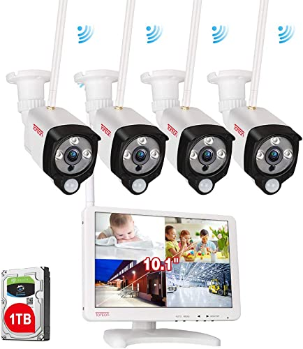 Audio and PIR Tonton Wireless All-in-One Full HD 1080P Security Camera System Outdoor,4CH WiFi NVR with 10.1 IPS Monitor and 1TB HDD,4PCS 1080P 2MP Bullet IP Cameras,Plug and Play,Easy Remote Access