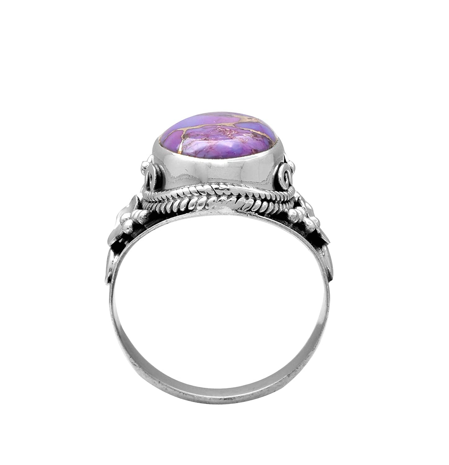 YoTreasure Purple Turquoise Solid 925 Sterling Silver Ring