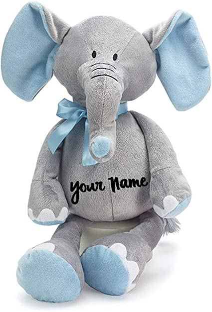 Personalized Baby Stuffed Animals, Amazon Com Personalized Baby Elephant Grey And Blue Plush Stuffed Animal Toy For Baby Boy With Custom Name 16 Inches Toys Games