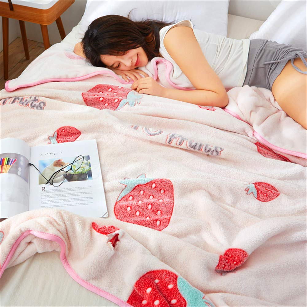 Snowflake Velvet Blanket Female Summer Warm Flannel Sheets Double Thick Coral Fleece Blanket Skin Friendly Comfort Soft and Delicate Strawberry Diary 120200cm by iangbaoyo