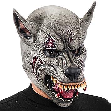 Carnival Toys - Máscara de látex lobo asesino con encabezado, color gris (746)