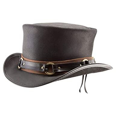 b87bfe9ab52f Voodoo Hatter El Dorado-SR2 Band by American Hat Makers Leather Top Hat,  Black