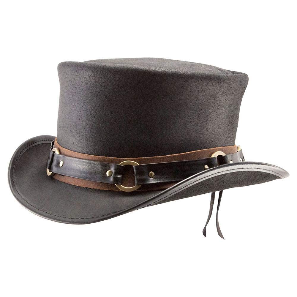 Voodoo Hatter El Dorado-SR2 Band by American Hat Makers Leather Top Hat, Black Finished-SR2 Band - X-Large
