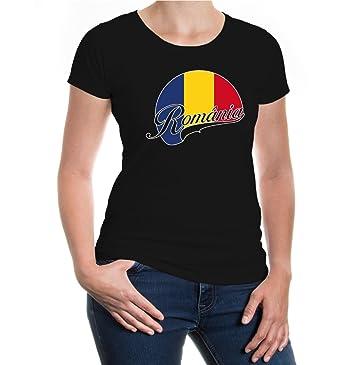 Girlie T-Shirt Romania-Logo-XS-Black-z-direct