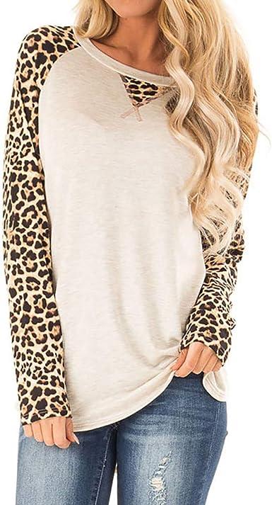 COZOCO Camisa Casual De Mujer con Estampado De Leopardo Camisa De Manga Larga De Empalme Camiseta Suelta: Amazon.es: Ropa y accesorios