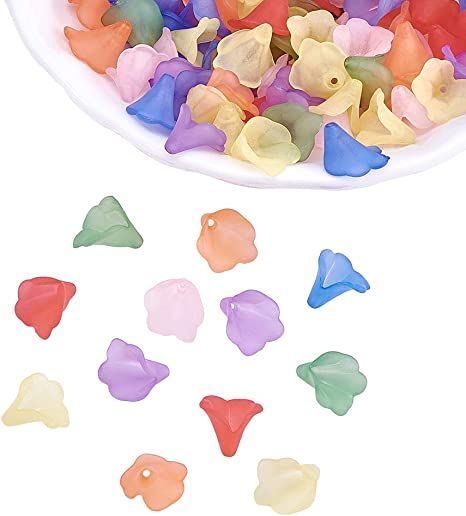 100pcs Mixed Color Frosted Lucite Transparent Acrylic Flower Beads about 10mm