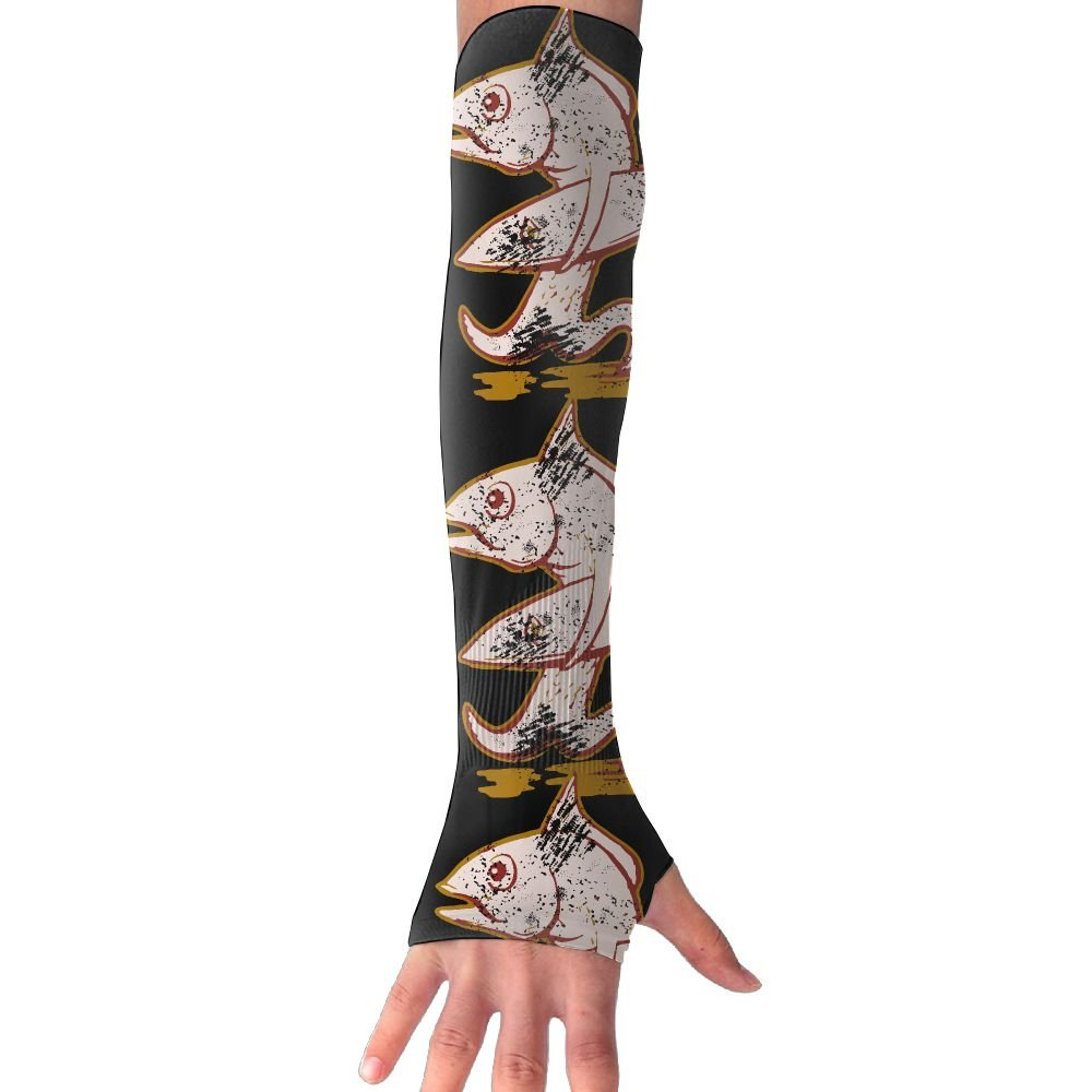 Fish With Surfboard Salty The Fish Unisex Protection Hand Cover Arm Sleeves Cool Cover Sun For Outdoor Activities 1 Pair