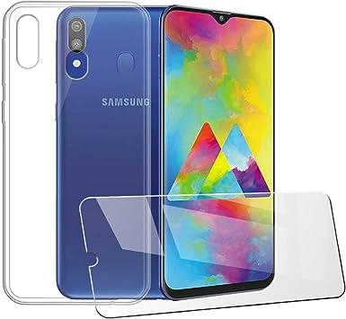 LJSM Funda para Samsung Galaxy M20 Transparente Carcasa Silicona TPU Suave Caso Case + [2 Piezas] Protector de Pantalla Templado Film Película Protectora para Samsung Galaxy M20 (6.3