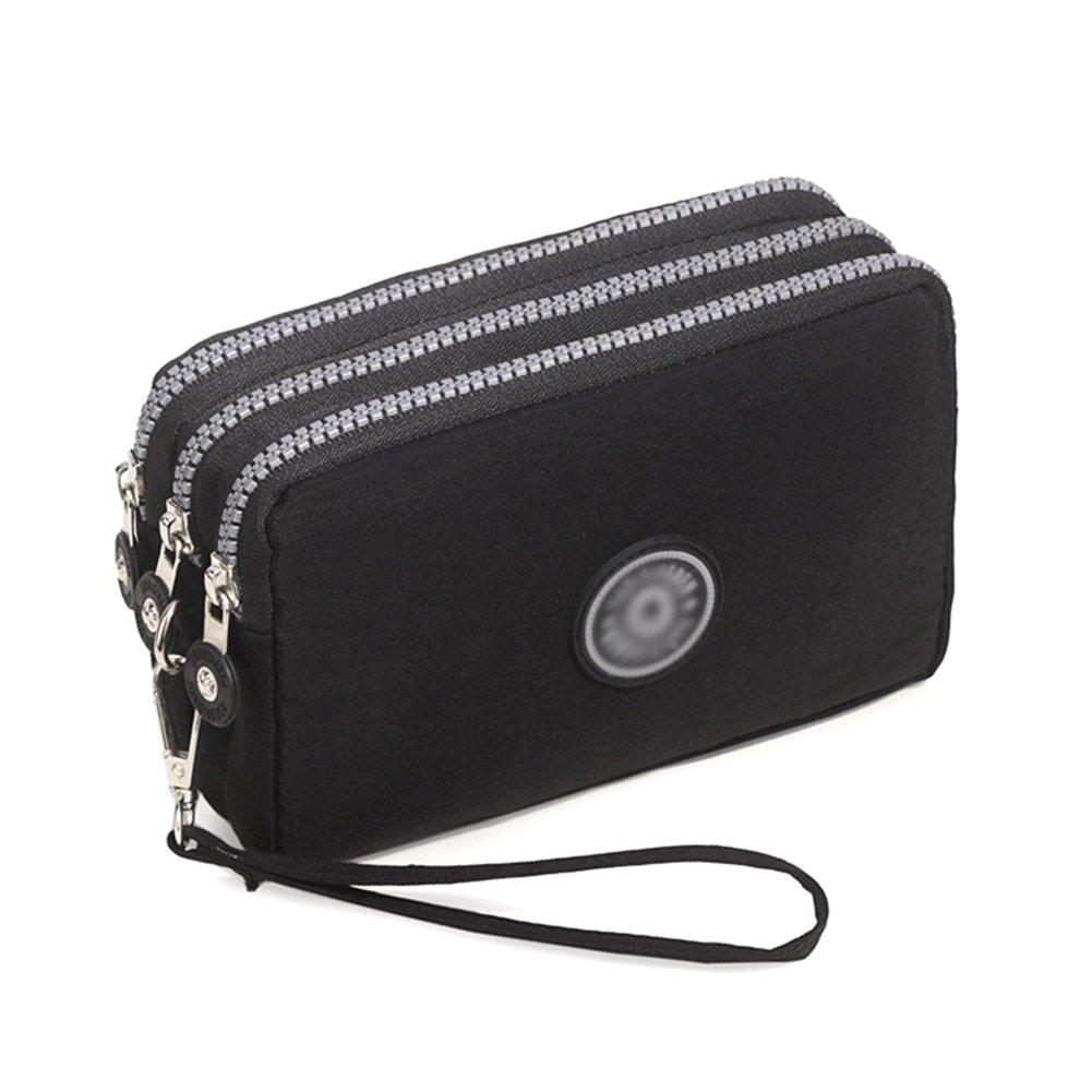 Bags us Small Crossbody Bag 3-Layers Zipper Coin Purse Wristlet Purse Waterproof Nylon Shoulder Strap Cellphone Pouch