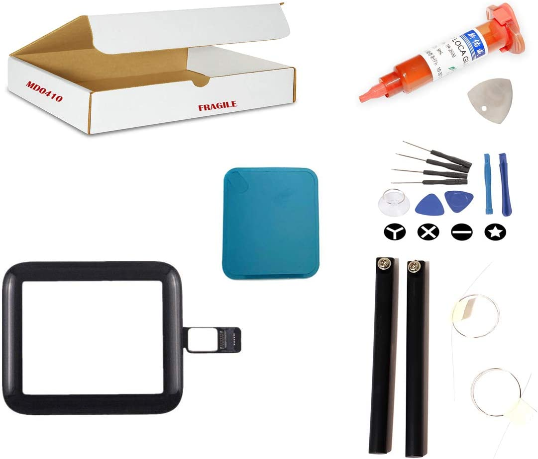 Screen Repair Kit Compatible for Apple Watch Series 3 (38mm) Model A1860 A1889 A1890 - Front Glass Lens with Touch Digitizer Flex Cable Replacement