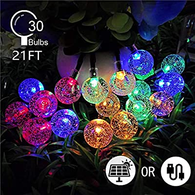 ARICHOMY Colorful String Lights Decorative Light Christmas' Day, 21Ft 30 Globe Starry Bulbs, Solar Led Fairy Lights for Party Wedding Patio Indoor Outdoor