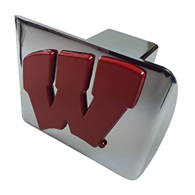 AMG University Wisconsin red Metal W Emblem on Chrome Metal Hitch Cover: Automotive