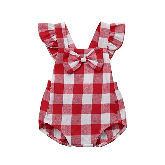 Summer Baby Lovely Red White Plaid Jumpsuits Stylish Bowknot Decoration Rompers