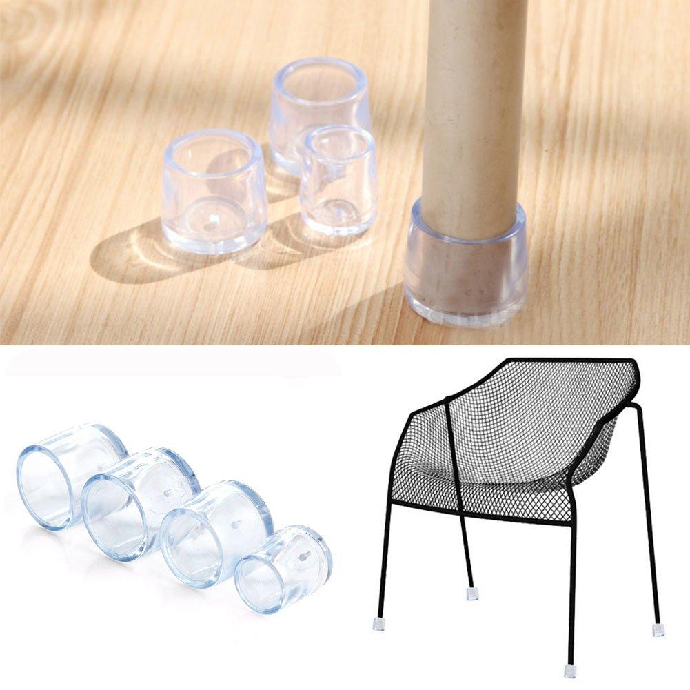 8 tapas para las patas de las sillas para muebles transparentes patas redondas de 12,7 a 24 mm 21 mm As Picture Show de goma