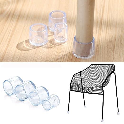 Juego de 4 tapones de goma transparente para patas de muebles y sillas transparente