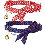 Blueberry Pet 2019 New Pack of 2 Cat Collars, Sleek Handsome Diagonal Striped