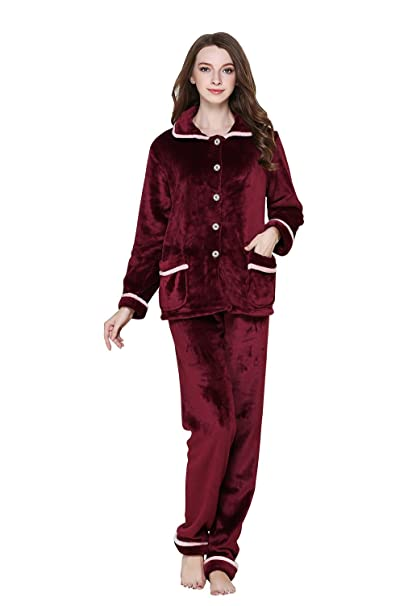 Sunshine chow Pijamas cálidos para Mujer Cómoda Manga Larga de Invierno Conjunto de Franela M L XL