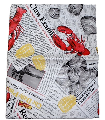 Summer Seafood Cookout Vinyl Tablecloth - Lobsters, Clams and Crabs on Newsprint (52