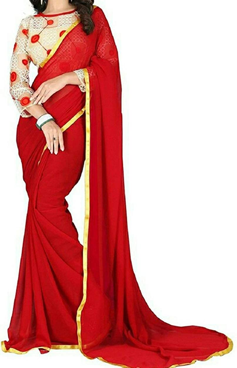 Buy Georgette Red Saree With Golden Gota Border Plain Fashion Designer Sarees Jaipur With Plain Golden Blouse At Amazon In