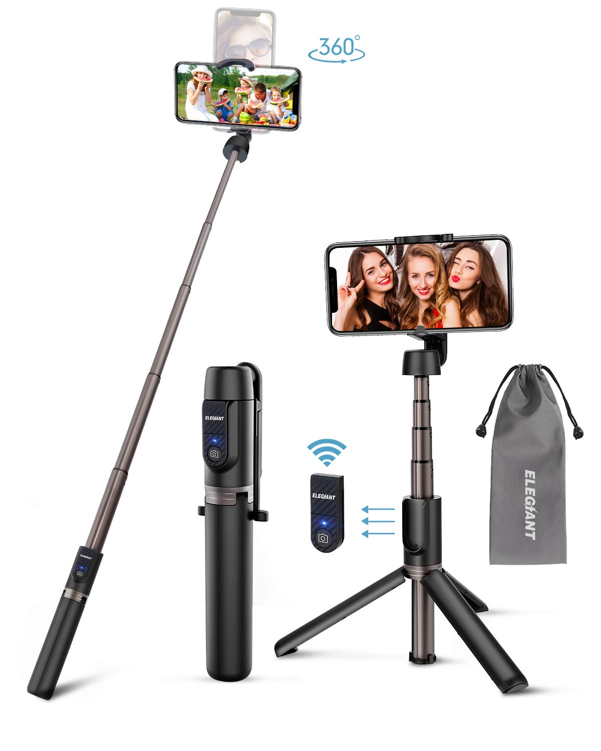 ELEGIANT Bastone Selfie Wireless, 3 in 1