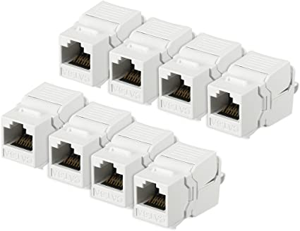 25x CAT6 RJ45 Keystone Jack Tool Less Snap In 180 Degree Ethernet Network White