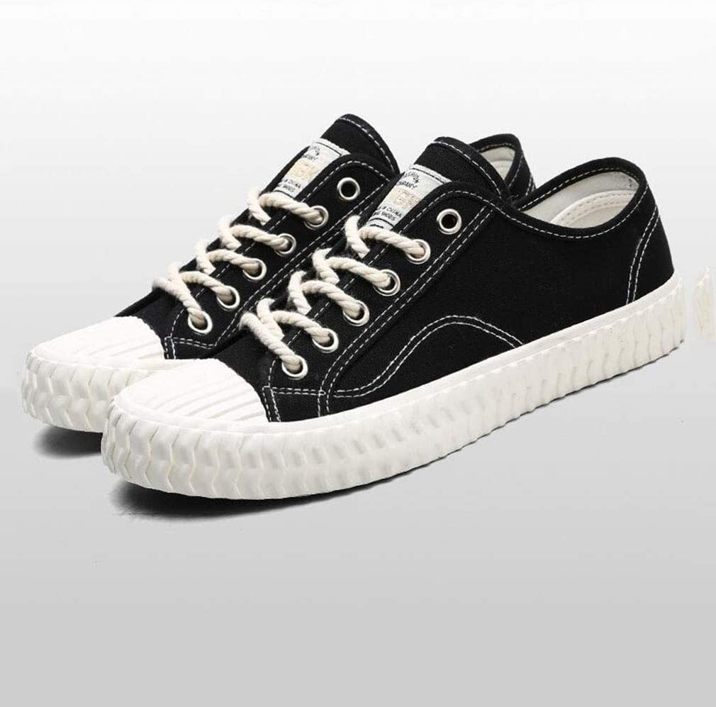 WIN&FACATORY Heren zeildoek schoenen Casual Sneakers Low Cut Lace Up Fashion comfortabel om te lopen (kleur: rood, maat: EU41 / UK7.5-8 / CN42) laag Eu43/Uk9/Cn44-black. Eu42/Uk8.5/Cn43-black.