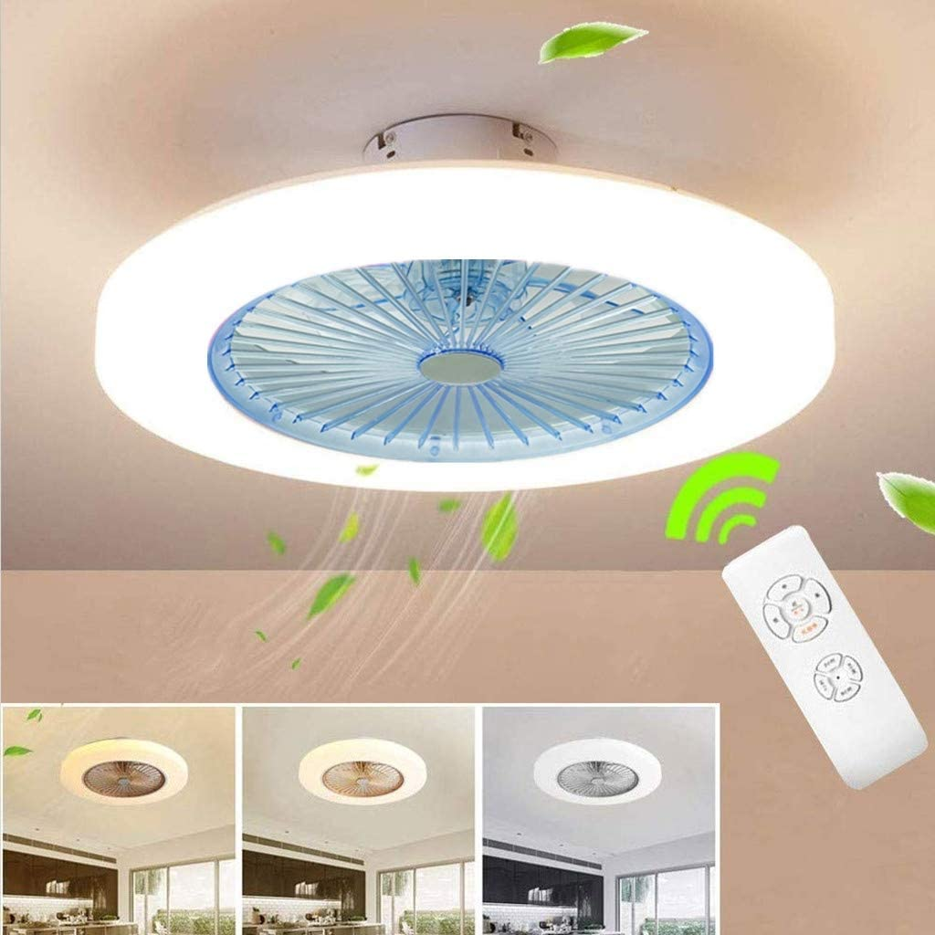 Ceiling Fan Ceiling Fan LED Fan Ceiling Fan with Lighting 36W Ceiling Lighting Dimmable with Remote Control 3 Gear Adjustable Wind Speed Modern Bedroom 58CM Ceiling Lamp Quiet Fan Nursery,Blue