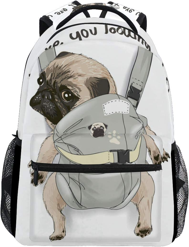 ALAZA Pug Dog Print Puppy Funny Quote Large Backpack Personalized Laptop iPad Tablet Travel School Bag with Multiple Pockets for Men Women College