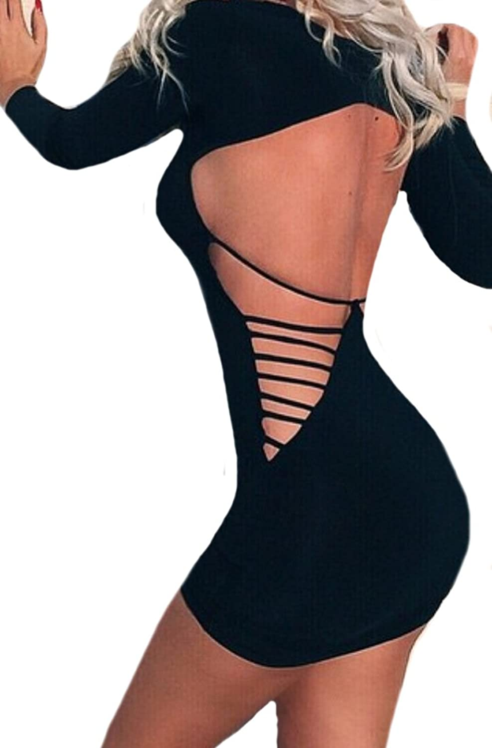 Oberora Women Sexy Backless Solid Color Bodycon Party Cocktail Dress