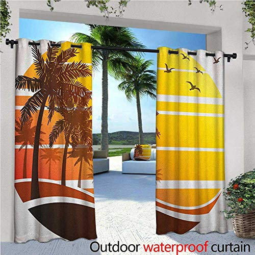 Tropical Balcony Curtains Sunset at Exotic Beach with Palm Trees Birds Summer Vacation Label Style Outdoor Patio Curtains Waterproof with Grommets W108 x L84 Yellow Coral Brown ()