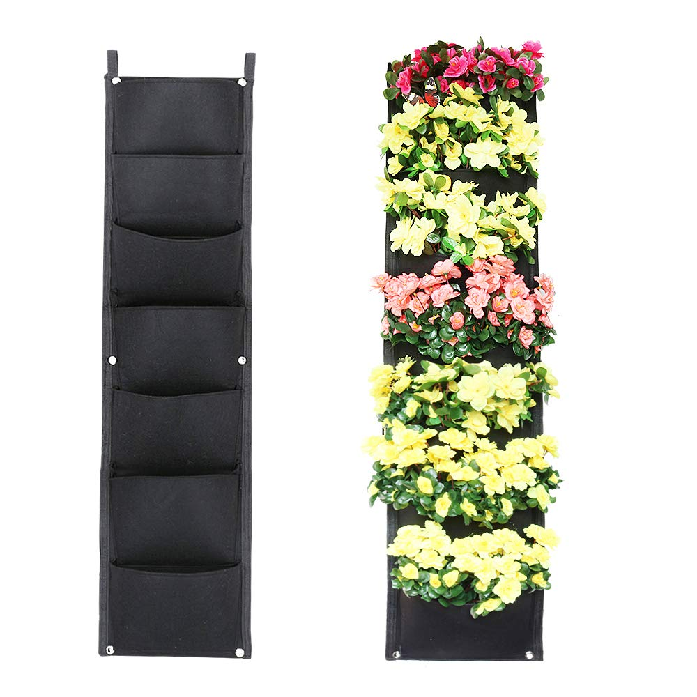 Xben Vertical Wall Hanging Planters, 7 Pockets Indoor Outdoor Large Grow Bags for Balcony Garden Yard Office Home Decoration