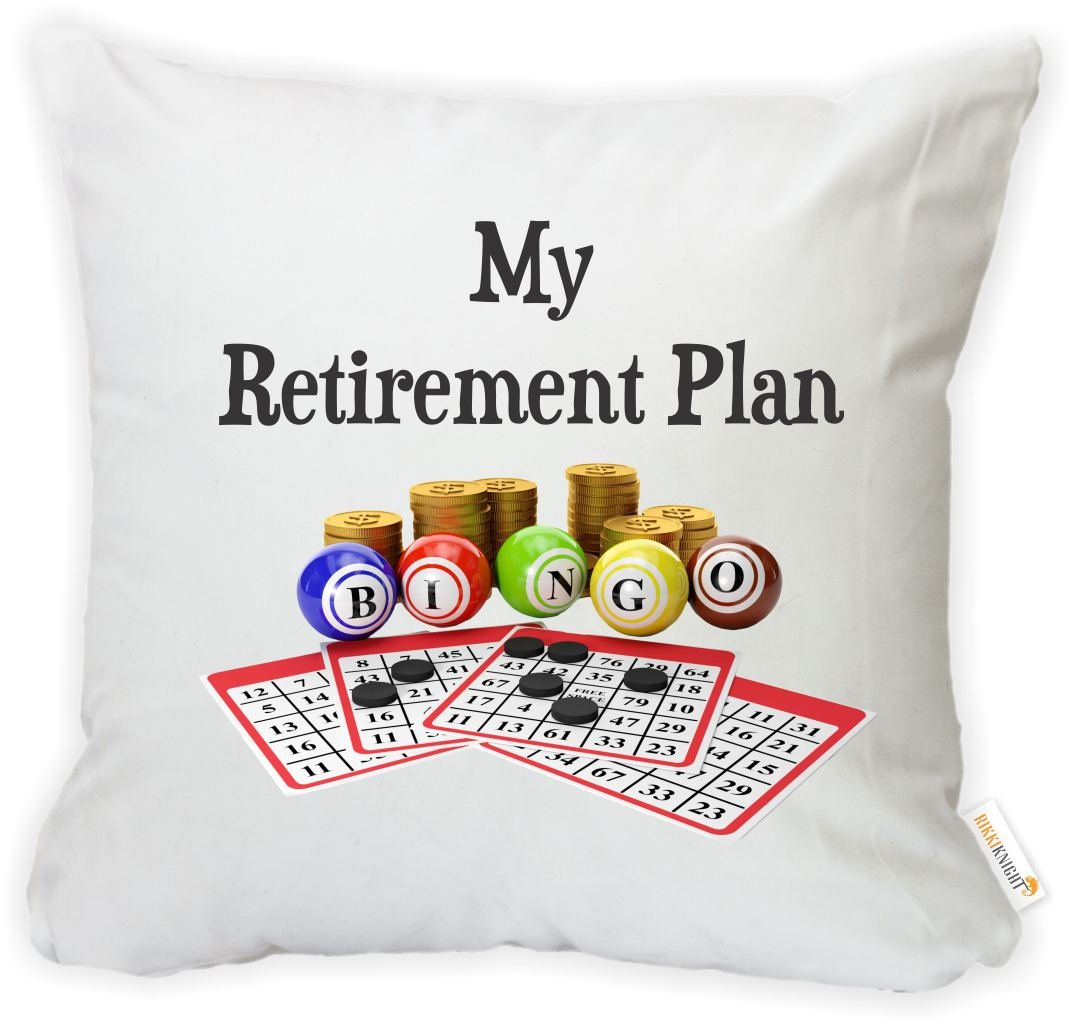 Rikki Knight My Retirement Plan is Bingo Microfiber Throw Décor Pillow Case Cushion Cover 16'' Square (Insert Included) by Rikki Knight