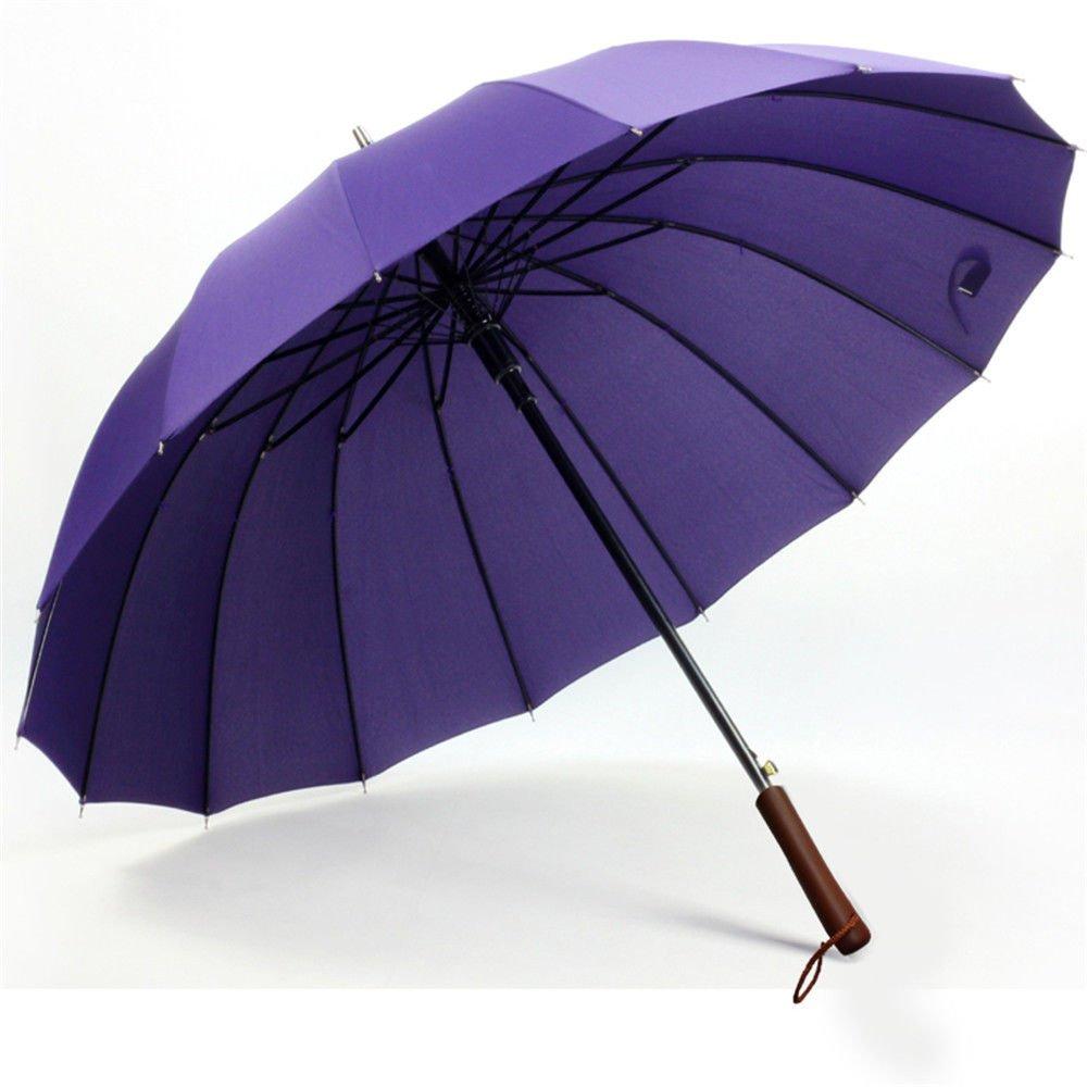 Guoke Solid Wood Handle Umbrella 16 Men And Women Fine Bone Umbrella Auto Long Handle Umbrella, Cigar Cyan (Straight)