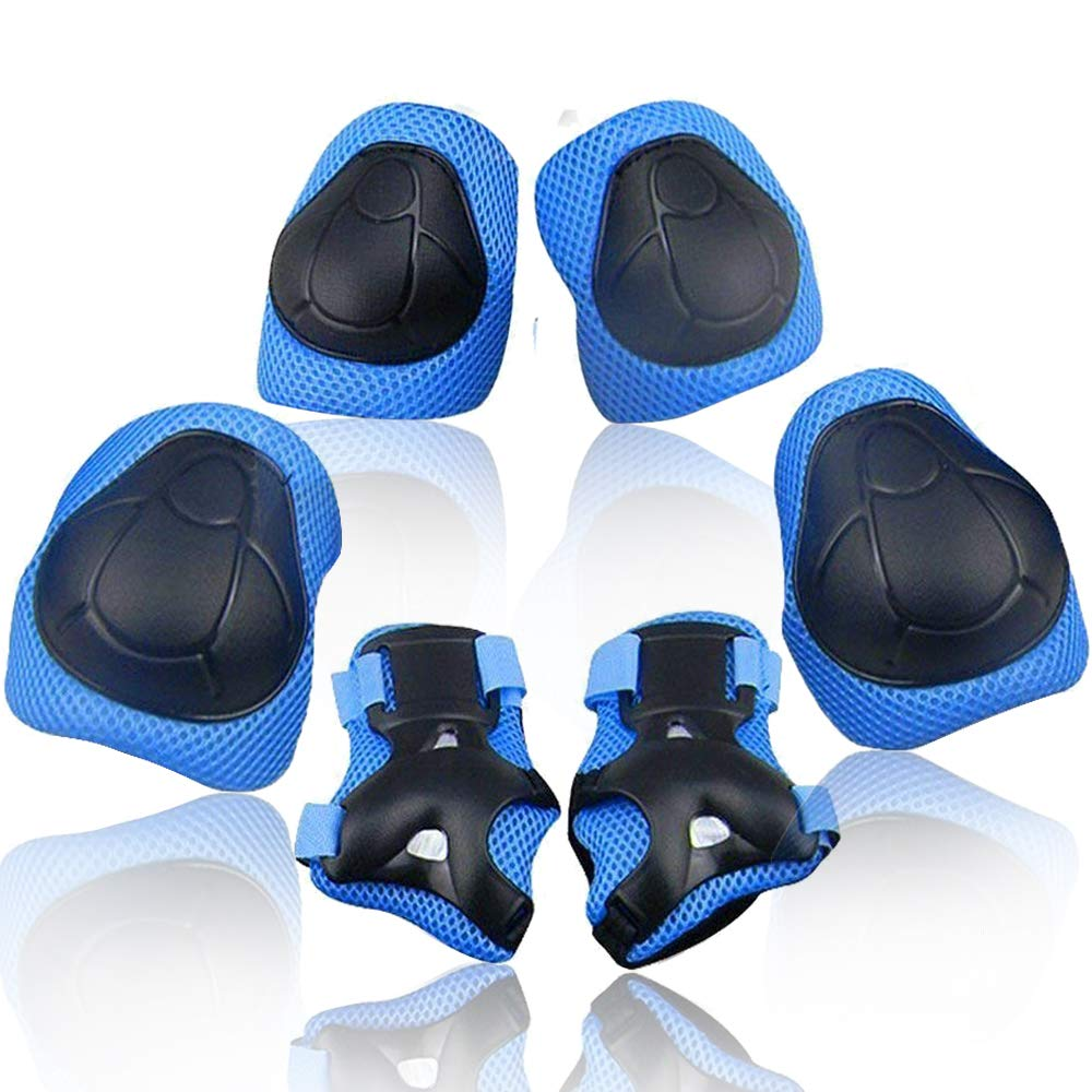 Wemfg Kids Protective Gear Set Knee Pads and Elbow Pads for Kids 2-8 Years Toddler Boys and Girls Wrist Guards Rollerblade 3 in 1 for Skating Rollerblading Cycling Biking by Wemfg