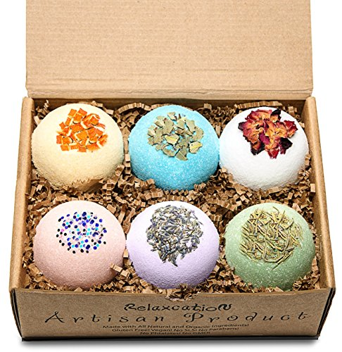 Bath Bombs Gift Set Large 4.5 oz/each – Luxury Organic & Natural Ingredients - Safe for Kids – Relaxing Epsom Himalayan & Dead Sea Salts,Lush Essential Oils – Handmade in USA - Spa Fizzies-Vegan